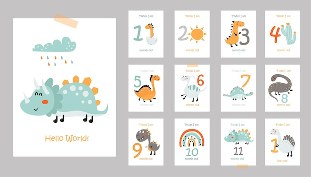 Miesięczne karty dla dzieci z uroczymi dinozaurami