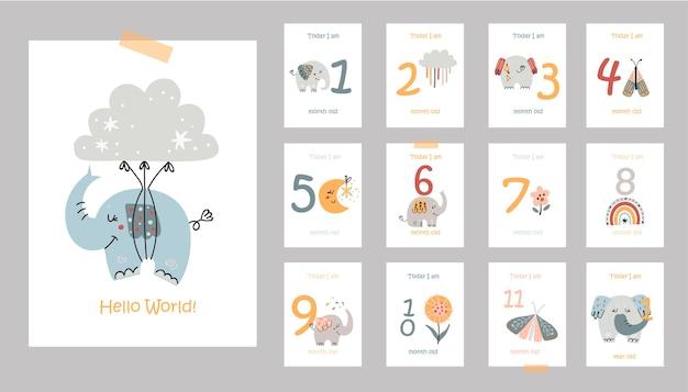 Miesięczne karty dla dzieci z uroczymi słoniami