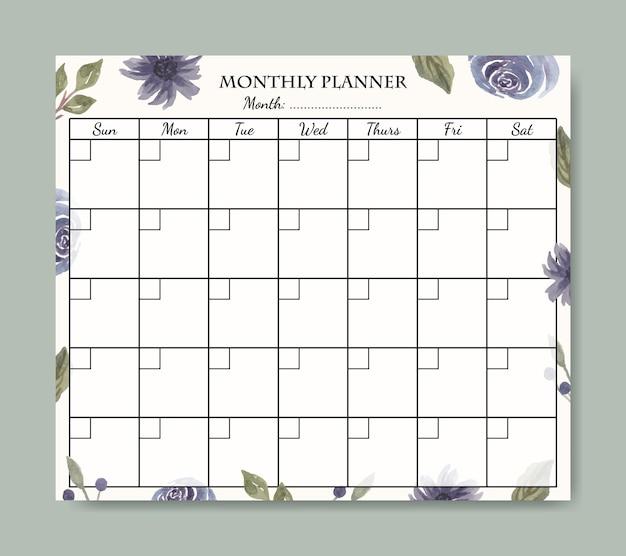 Miesięczny planer szablonu projektu z ręcznie malowanym akwarelowym fioletowym tle kwiatowym do druku