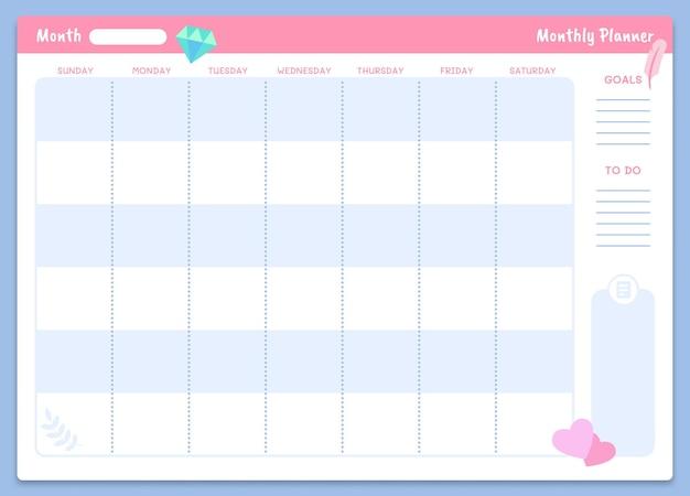 Miesięczny szablon planowania.