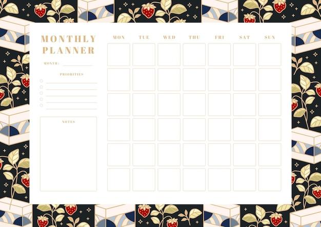 Miesięczny terminarz do druku, szablon harmonogramu szkoły z ręcznie rysowanymi elementami ciasta, kwiatów i truskawek