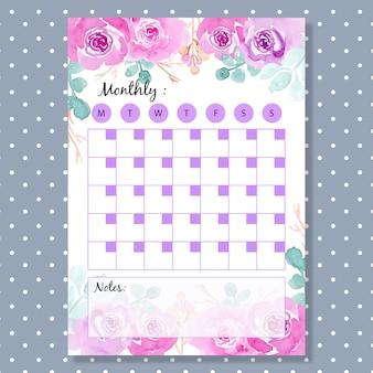 Miesięczny terminarz z miękkim fioletowym kwiatem akwarela