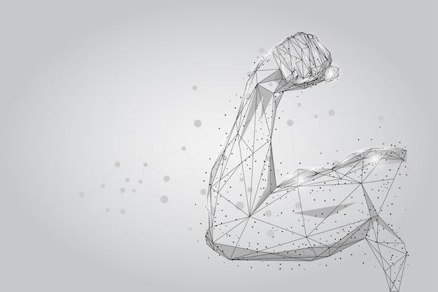 Mięśnie dłoni męskiej połączone kropkami low poly wireframe.