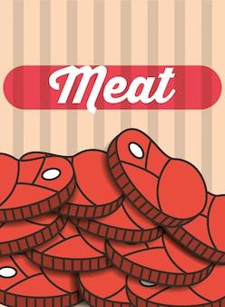Mięso stek kawałki menu restauracji plakat