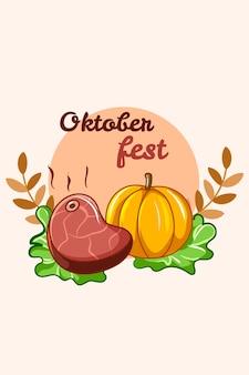 Mięso z dynią oktoberfest ikona ilustracja kreskówka