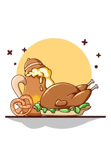 Mięso z kurczaka, piwo z preclem dla ilustracji kreskówki oktoberfest