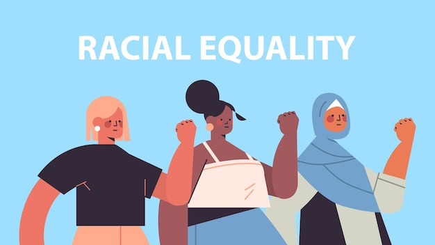Mieszać kobiety rasy o różnym kolorze skóry, pokazując pięści w proteście koncepcja sztuki tolerancji na równość rasową i feminizm