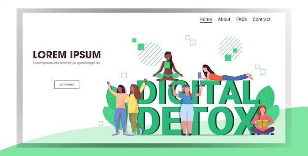 Mieszać rasę ludzi spędzających czas bez urządzeń cyfrowy detoks koncepcja zdrowego stylu życia