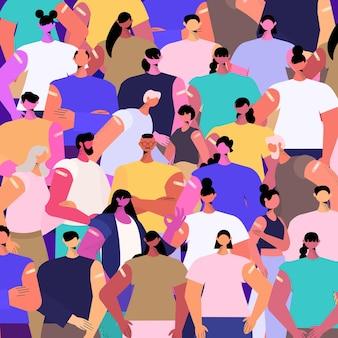 Mieszać rasę zaszczepioną grupę pacjentów po wstrzyknięciu szczepionki udanej koncepcji szczepień przeciwko covid-19 portret ilustracji wektorowych
