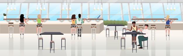 Mieszać rasy ludzi pijących kawę spędzać czas w restauracji nowoczesnej kawiarni wnętrze płaskie poziome transparent pełnej długości