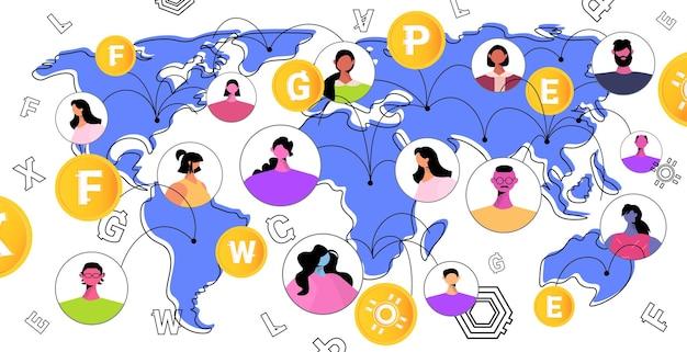 Mieszaj ludzi rasy wysyłających i otrzymujących cyfrowe monety na mapie świata, wydobywając wirtualne pieniądze na giełdzie kryptowalut