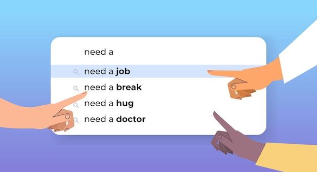 Mieszaj rasy ludzkie ręce wybierając potrzebną pracę w pasku wyszukiwania na wirtualnym ekranie