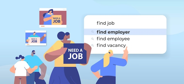 Mieszanie rasy biznesmeni wybierający znajdź pracodawcę w pasku wyszukiwania na wirtualnym ekranie rekrutacja kadr zatrudnianie koncepcja sieci internetowej ilustracja pozioma portret