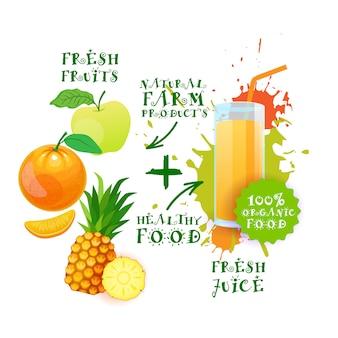 Mieszanka świeżego soku koktajlu loga naturalnego jedzenia gospodarstwa rolnego produktów pojęcie