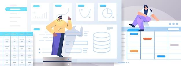 Mieszanka wyścigu zespół przedsiębiorców analizowanie wykresów i wykresów analiza danych planowanie strategii firmy koncepcja pracy zespołowej pełnej długości pozioma wektorowa ilustracja