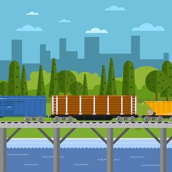 Mieszany pociąg towarowy w krajobrazie miejskim