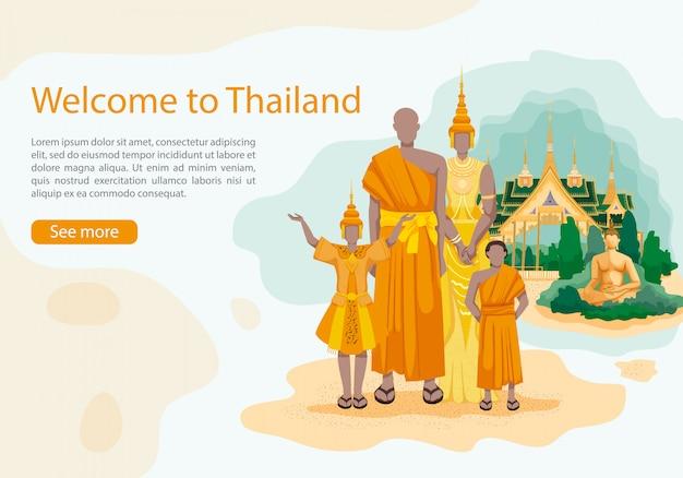 Mieszkańcy tajlandii na buddzie i pałacu