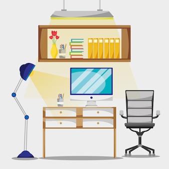 Mieszkanie biurowe z biurkiem i akcesoriami do pracy