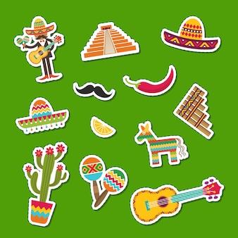Mieszkanie meksyku atrybuty naklejki zestaw ilustracji