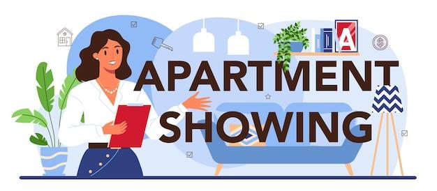 Mieszkanie pokazujące typograficzny nagłówek nieruchomości z branży nieruchomości