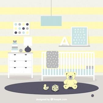 Mieszkanie pokój dziecka z żółtymi szczegóły