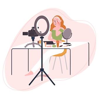 Mieszkanie w stylu ilustracja kreskówka kobieta postać nagrywania wideo podczas stawiania makijażu. koncepcja transmisji wideo, samouczek do makijażu, streaming na żywo, bloger kosmetyczny, vlog.