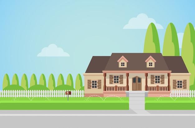 Mieszkanie w stylu wiejskim domu rodzinnego z koncepcji trawnika przydomowego.