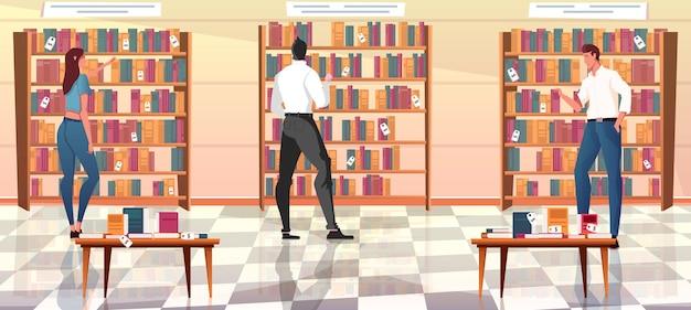 Mieszkanie z ludźmi patrzącymi na rzędy książek na półkach w sklepie