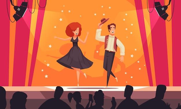 Mieszkanie z okazji międzynarodowego dnia tańca z parą tancerzy wykonujących narodową ilustrację tańca ludowego