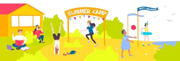 Mieszkanie z wesołymi dziećmi spędzającymi wakacje na ilustracji obozu letniego,