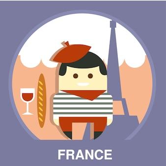 Mieszkaniec francji na tradycyjnej ilustracji