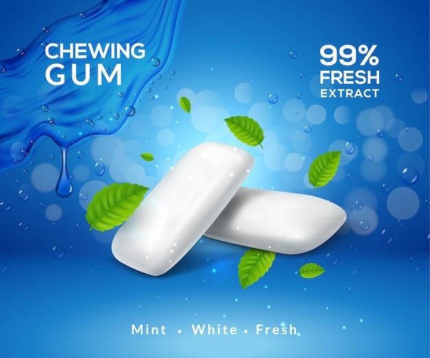 Mięta w tle guma do żucia świeży zapach oddechu. szablon pakietu produktu gumy do żucia