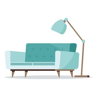Miętowa lampa podłogowa i miękka sofa z ikonami drewnianych nóg.