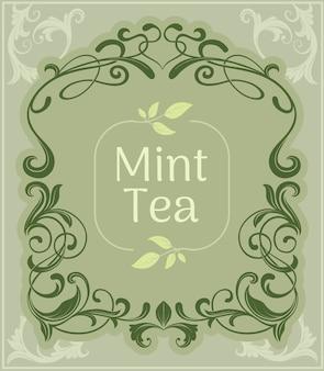 Miętowy herbaciany rocznika tło