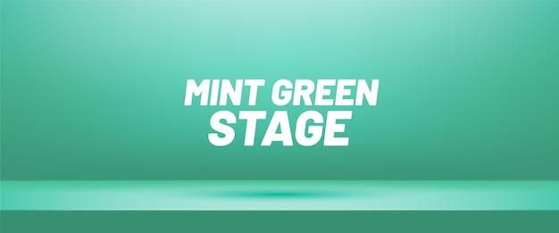 Miętowy zielony pusty pokój typu studio do wyświetlania produktów.