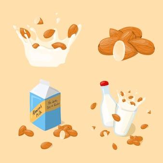 Migdałowe mleko szklane, splash, butelka, opakowanie wektor zestaw. zdrowa łasowanie kreskówki ilustracja odizolowywająca