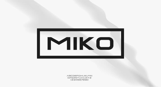 Miko, odważna, nowoczesna sportowa czcionka z alfabetem typografii.