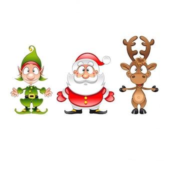 Mikołaj elf i renifery zabawna kreskówka boże narodzenie wektor znaków