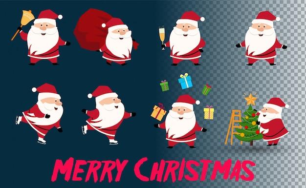 Mikołaj idzie do obchodów bożego narodzenia. kolekcja świątecznego świętego mikołaja