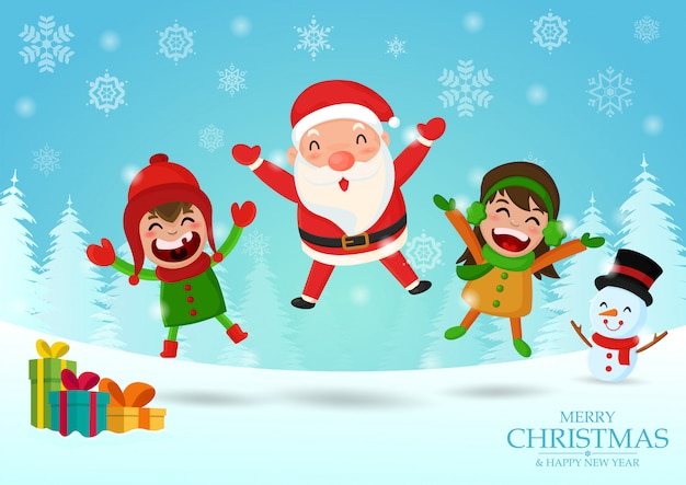 Mikołaj snowman i dzieci świętują boże narodzenie.