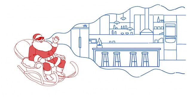 Mikołaj w saniach nosić okulary cyfrowe wirtualnej rzeczywistości nowoczesne kawiarnia wnętrze vr wizja zestaw słuchawkowy płaski