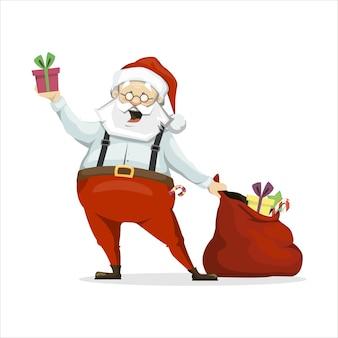 Mikołaj wyjmuje prezenty z torby. na białym tle w stylu płaskiej