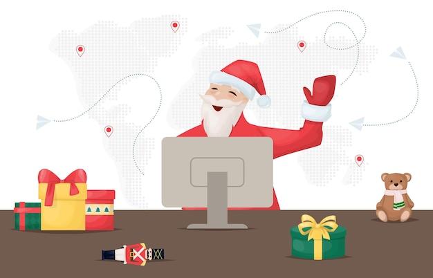 Mikołaja czas zimowy do domu. święty mikołaj pracuje online na swoim komputerze. prezenty ozdoby na stole. mapa świata. święty mikołaj szuka prezentów na ilustracji wektorowych w internecie. łączenie ludzi na całym świecie