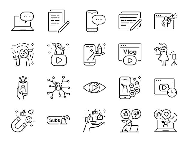 Mikro influencer i zestaw ikon linii blogu. zawarte ikony, takie jak recenzje, media społecznościowe, reklama, wskaźniki wyświetleń, jak, vlog i więcej.