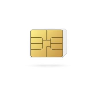 Mikrochip szablonu karty sim telefonu, realistyczny na białym tle. technologia komunikacyjna i chip identyfikacyjny ip telefonu komórkowego.