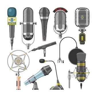 Mikrofon audio dyktafon i mikrofony do transmisji podcastów lub technologii nagrywania muzyki zestaw ilustracji koncert koncert wyposażenie na białym tle