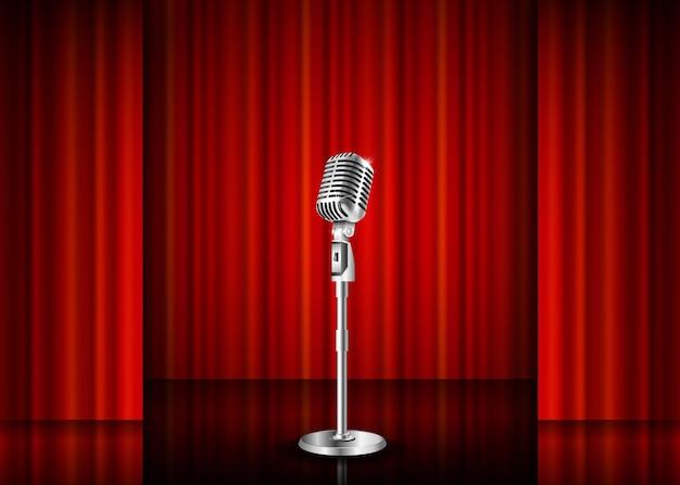 Mikrofon i czerwona kurtyna