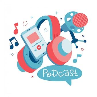 Mikrofon i zestaw słuchawkowy do słuchania muzyki. nagrywanie podcastu. sprzęt do nagrywania dźwięku, mikrofon, element projektu na białym tle smartphone z napisem. płaska ilustracja.