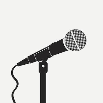 Mikrofon na stojaku. sprzęt do nagrywania dźwięku. na karaoke, wywiad, śpiew. ilustracja wektorowa.