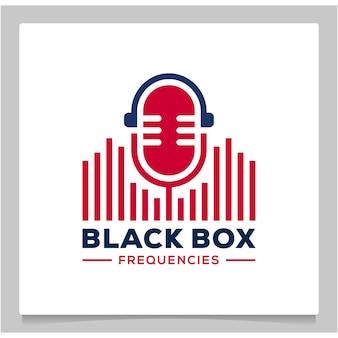 Mikrofon podcast dźwięk ikona częstotliwość projekt logo zarys linii